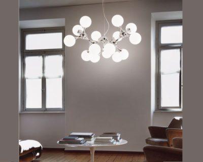 Nodi Ideal Lux Lampadario Moderno in Vetro Ambientato