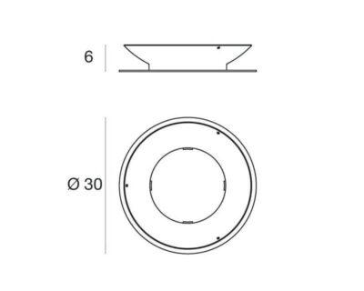 Piastra antifurto di Fissaggio per arredi luminosi Linea Light diam.30 cm disegno