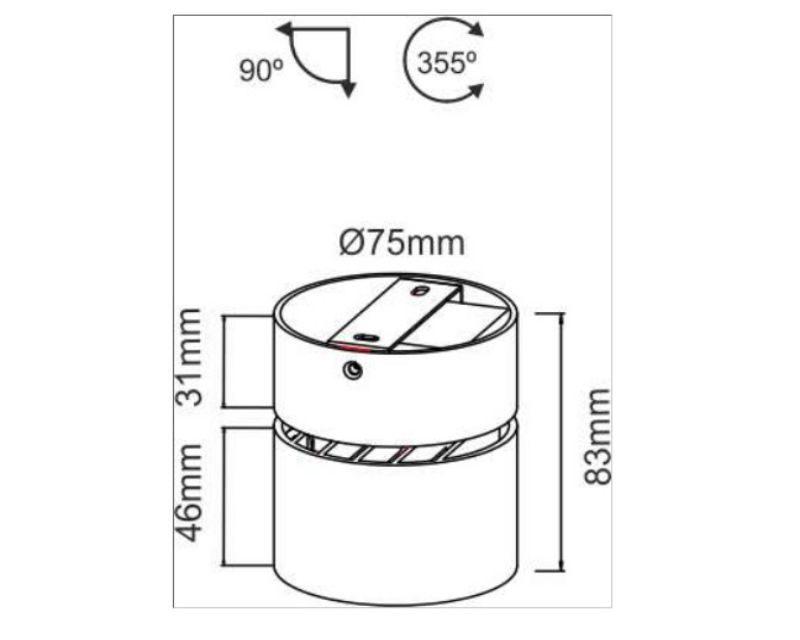 mini-concord-plafone-led-nero-8w-dimensioni