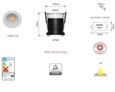 pulsar-faretto-aluminium-led-beneito-faure-tecnica