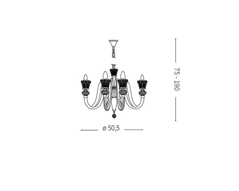 strauss-lampadario-sospensione-classico-ideal-lux-tecnica