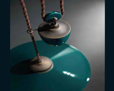 Colors FC1632 Ferroluce Lampadario in Ceramica Verde Petrolio