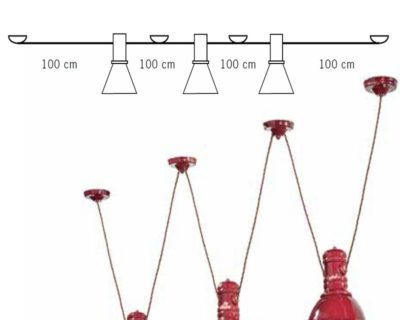 Lampadario C1692 Industrial Collection Ferroluce 3 luci rosso