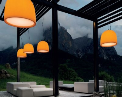 Campanone Modo Luce Lampadario per Esterno Arancio