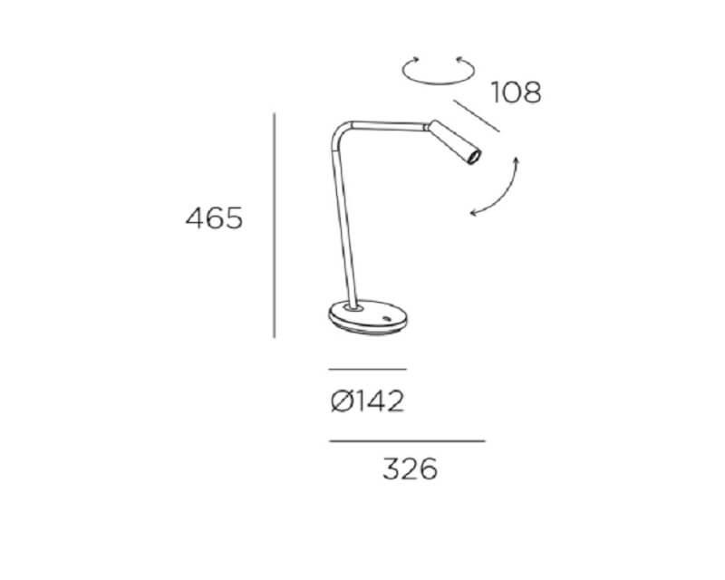Gamma Leds-C4 Lampada da Scrivania Led misure