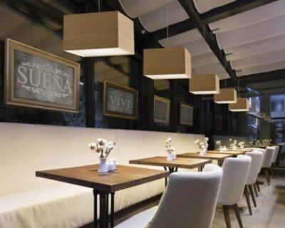 Kube Singolo Ole! Lampadario Moderno in Legno ristorante