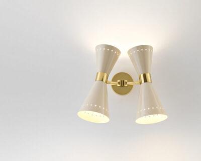 Megafono Stilnovo Applique due luci oro