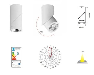plus-beneito-plafone-led-orientabile-7W-curva-fotometrica