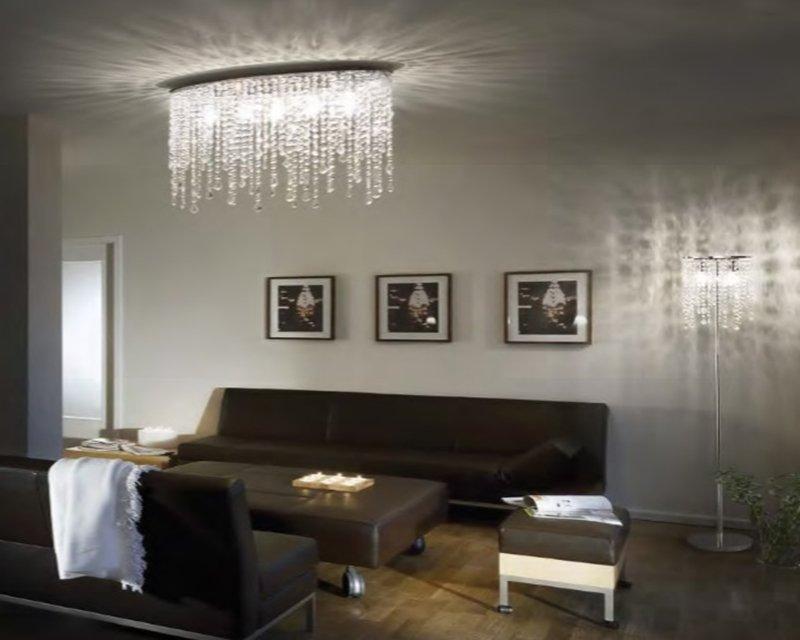 Plafoniere Cristallo Classiche : Rain clear ideal lux plafoniera in cristallo classica