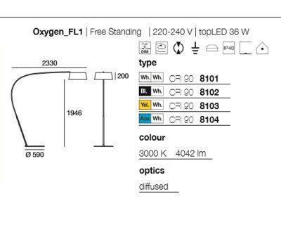 oxygen-piantana-curva-con-paralume-nero-bianco-azzurro-giallo
