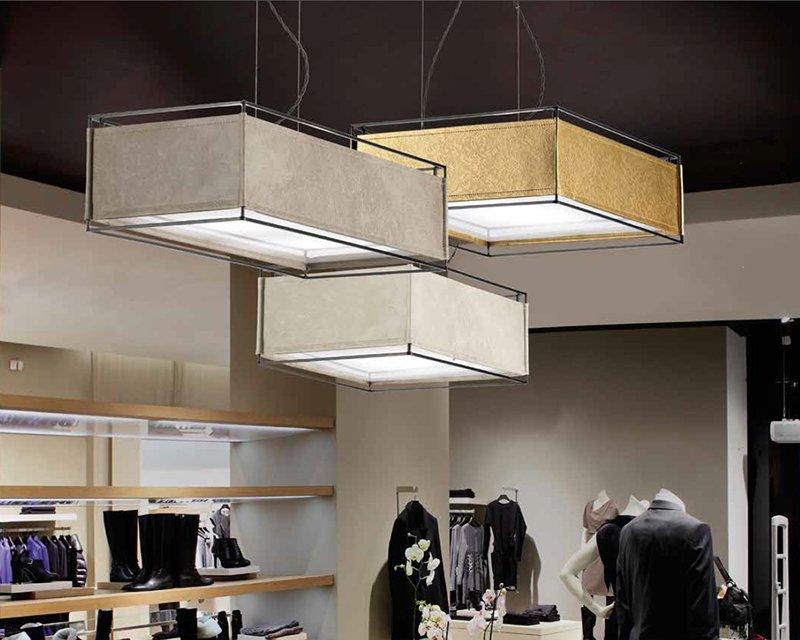 Plafoniere Quadrate In Tessuto : Savanà sil lux sospensione di design lightinspiration