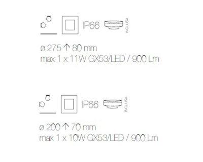 berta applique/plafoniera small led da esterni ideal lux tecnica