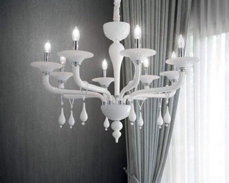 Lampadari In Cristallo Classici.Miramare Lampadario Classico In Vetro Soffiato Ideal Lux