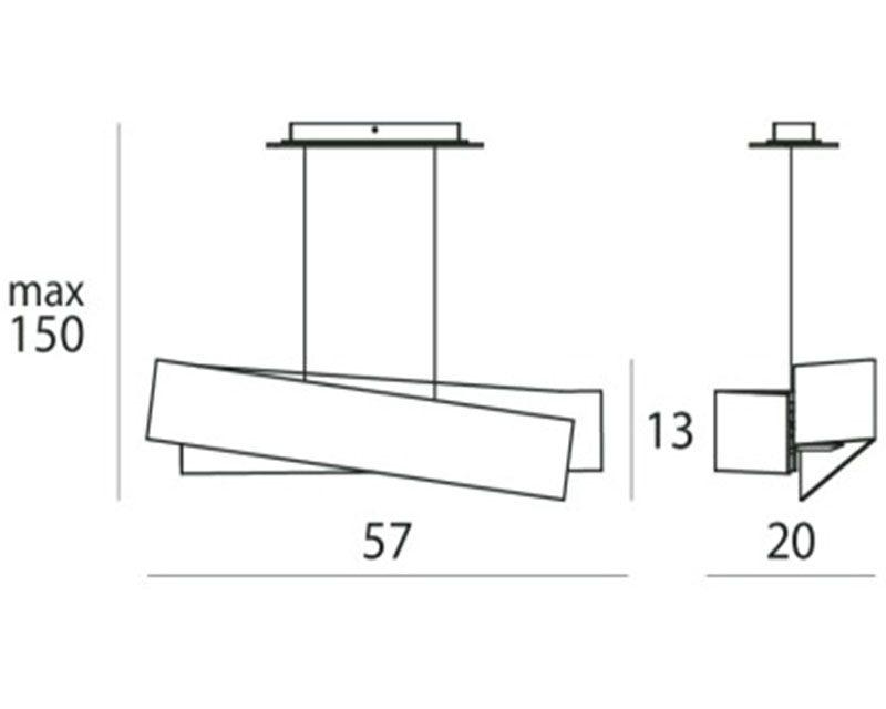 Linea Light Zig Zag Lampadario Moderno tecnica